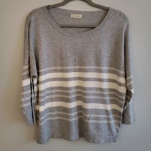 2/$20 Large Gray &White Striped Scoop Neck Sweater
